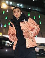 Мужской укороченный теплый пуховик The North Face & Gucci. Стильная мужская зимняя куртка., фото 1