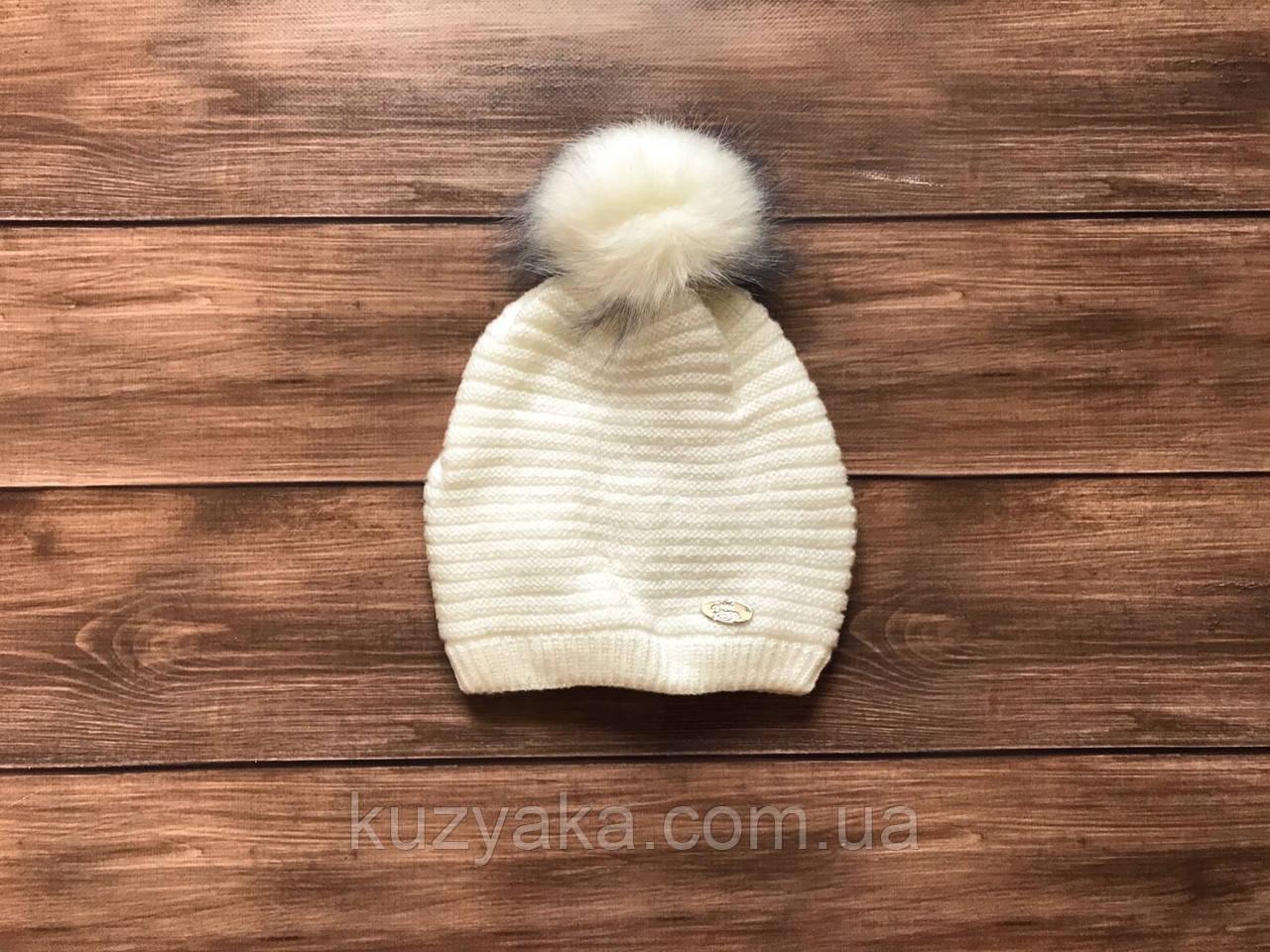 Детская зимняя шапка на флисе для девочки на 3-5 лет