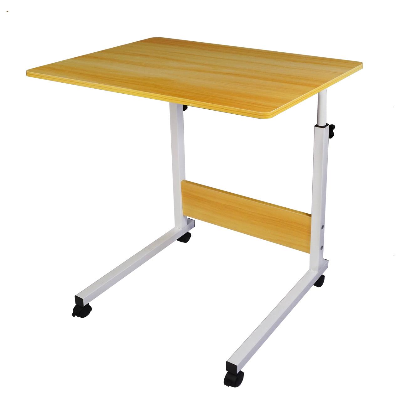 Приліжковий столик для ноутбука з регульованою висотою на коліщатках
