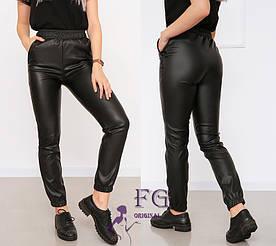 "Женские кожаные штаны на резинке ""Маркус"" (тонкие)  Батал #A/S"