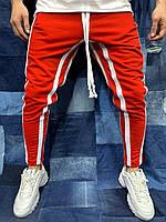 Мужские спортивные штаны красные с белыми лампасами 2Y Premium BRS-5076, фото 1