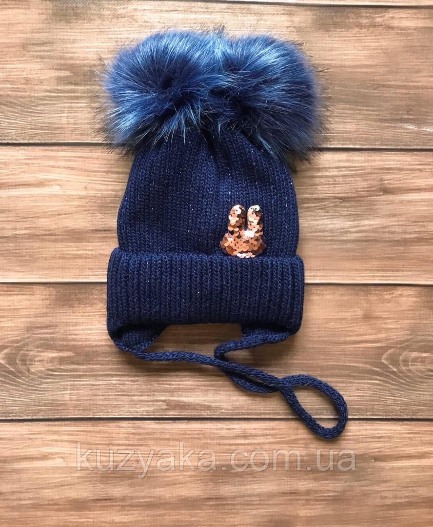 Детская зимняя шапка на флисе для девочки на 1,5 года-5 лет