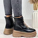 Только на 24 см! Женские ботинки ЗИМА черные с коричневым на шнуровке эко кожа, фото 2