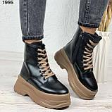 Только на 24 см! Женские ботинки ЗИМА черные с коричневым на шнуровке эко кожа, фото 3