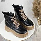 Только на 24 см! Женские ботинки ЗИМА черные с коричневым на шнуровке эко кожа, фото 6