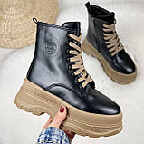 Только на 24 см! Женские ботинки ЗИМА черные с коричневым на шнуровке эко кожа, фото 7