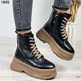 Только на 24 см! Женские ботинки ЗИМА черные с коричневым на шнуровке эко кожа, фото 4