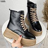 Только на 24 см! Женские ботинки ЗИМА черные с коричневым на шнуровке эко кожа, фото 8