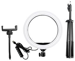Светодиодная LED лампа MJ20 RGB 15 цветов Soft Ring Light 20 см + Студийный штатив Stend 210 см, фото 3