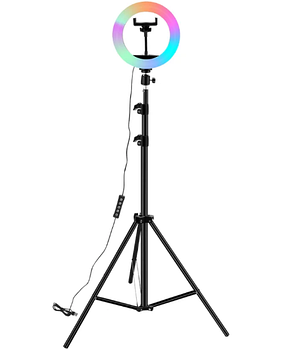 Светодиодная LED лампа MJ20 RGB 15 цветов Soft Ring Light 20 см + Студийный штатив Stend 210 см, фото 2
