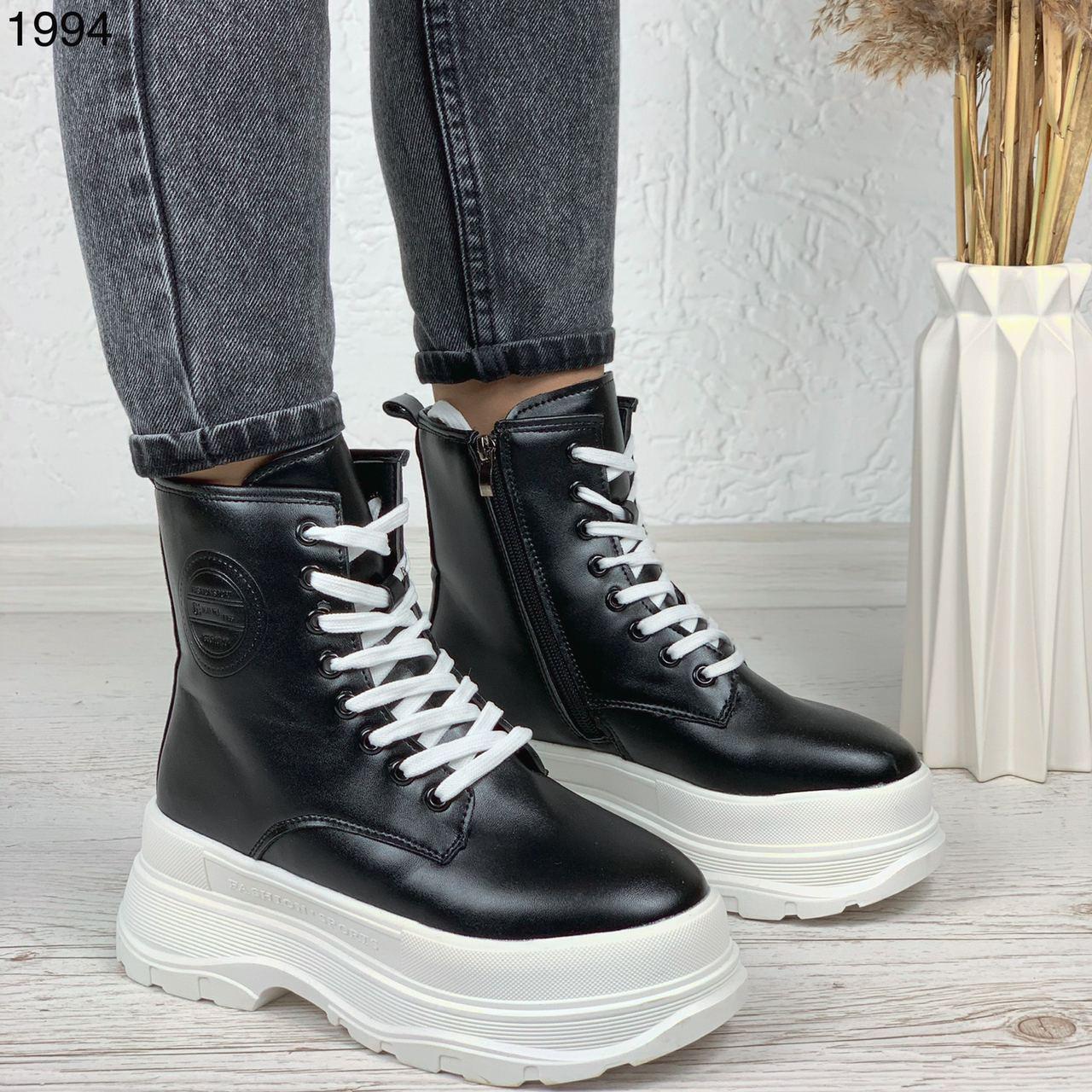 Женские ботинки ЗИМА черные с белым эко кожа на платформе 6 см