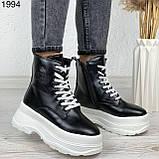 Женские ботинки ЗИМА черные с белым эко кожа на платформе 6 см, фото 3