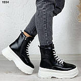 Женские ботинки ЗИМА черные с белым эко кожа на платформе 6 см, фото 5