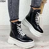 Женские ботинки ЗИМА черные с белым эко кожа на платформе 6 см, фото 6