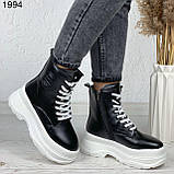 Женские ботинки ЗИМА черные с белым эко кожа на платформе 6 см, фото 7