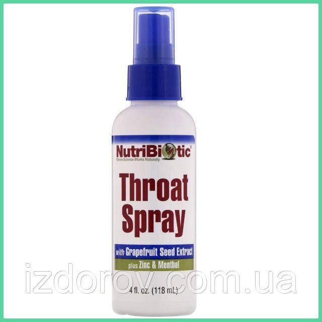 NutriBiotic, Спрей для горла с экстрактом косточек грейпфрута, цинком и ментолом, Throat Spray, 118 мл. США
