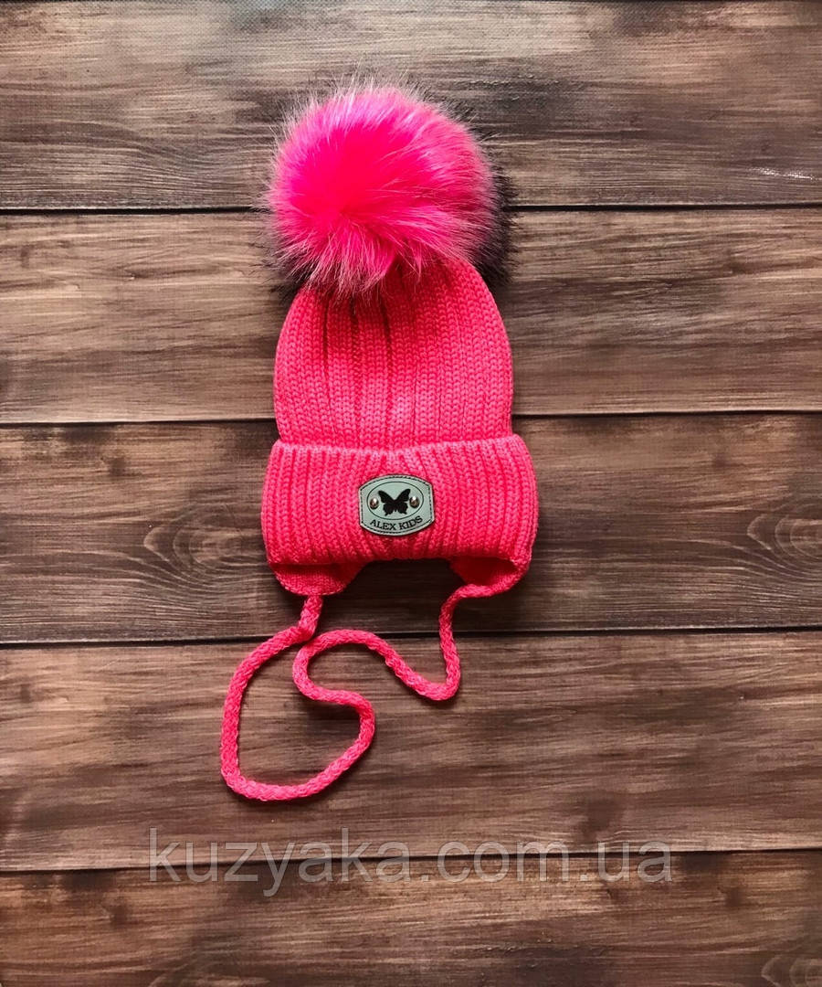 Детская зимняя шапка на флисе для девочки на 1-3 года