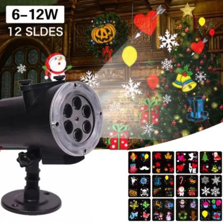 Лазерный проектор уличный новогодний 12в1 комнатный с пультом картинки