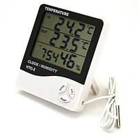 Цифровой термогигрометр HTC-2 двухрежимный, термометр, влажность, часы (-50°C до 70°C)