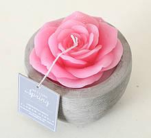 """Декоративна свічка """"Троянда у горщику"""" темно-рожевий віск һ6см Гранд Презент 1014359-3ТР"""