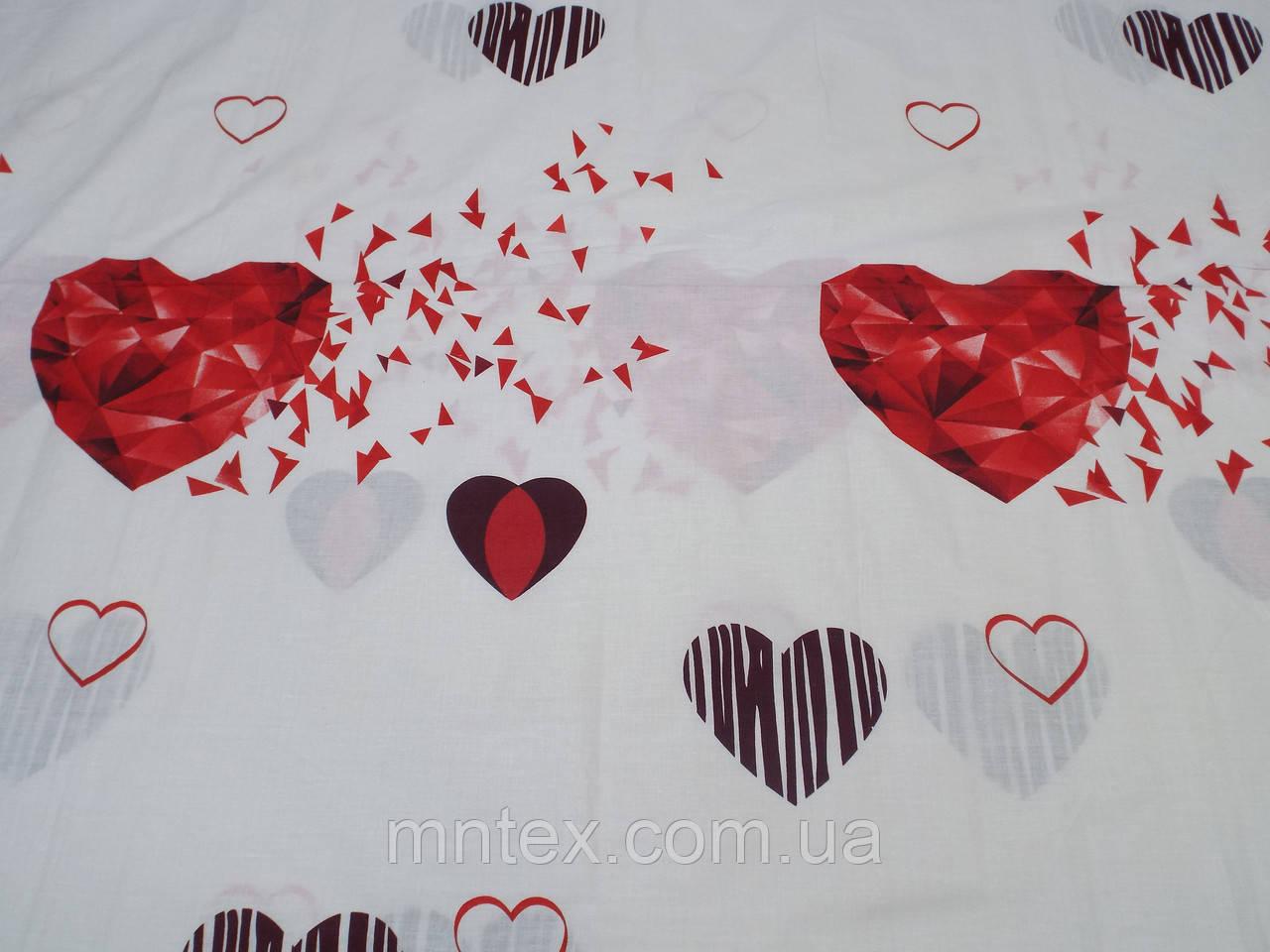 Ткань для пошива постельного белья бязь голд Рубиновое сердце
