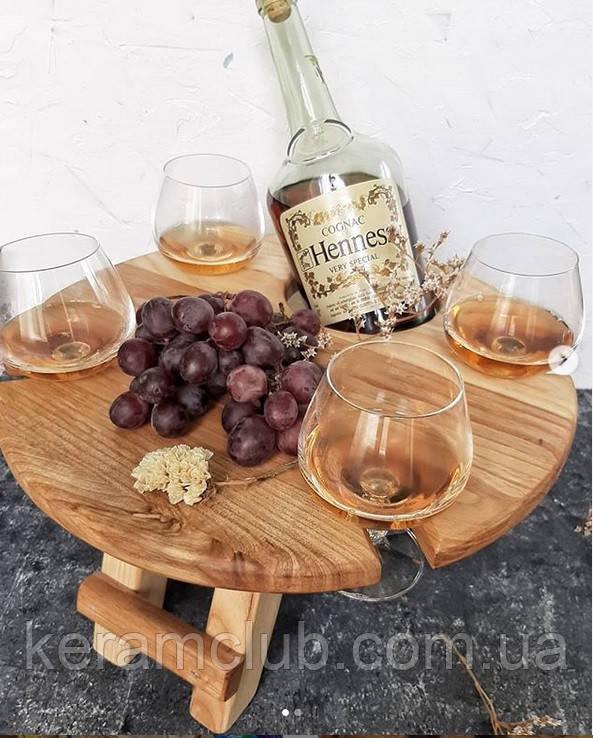 Деревянный столик-поднос для спиртного d 35 см