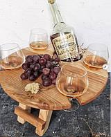 Деревянный столик-поднос для спиртного d 35 см, фото 1