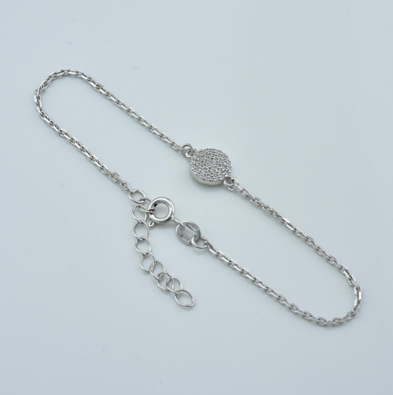 Серебряный браслет с родированием длина 18+3 см ширина 10 мм вес серебра 2.03 г