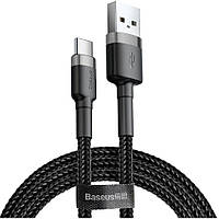 Кабель Baseus Cafule USB For Type-C 2A 3m gray+black (CATKLF-UG1)