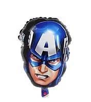 """Фольгированный шар """"Капитан Америка"""" голова  49х33 см (Китай)"""
