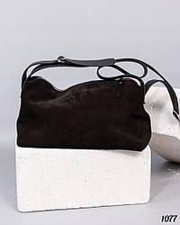 Женская черная сумочка натуральная замша