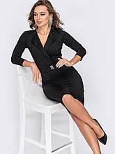 Облегающее черное платье-миди с рукавами три четверти и лифом на запах