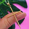 Католический золотой крестик - Золотой крестик без распятия - Крестик из желтого золота, фото 6