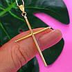 Католический золотой крестик - Золотой крестик без распятия - Крестик из желтого золота, фото 5