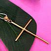 Католический золотой крестик - Золотой крестик без распятия - Крестик из желтого золота, фото 4