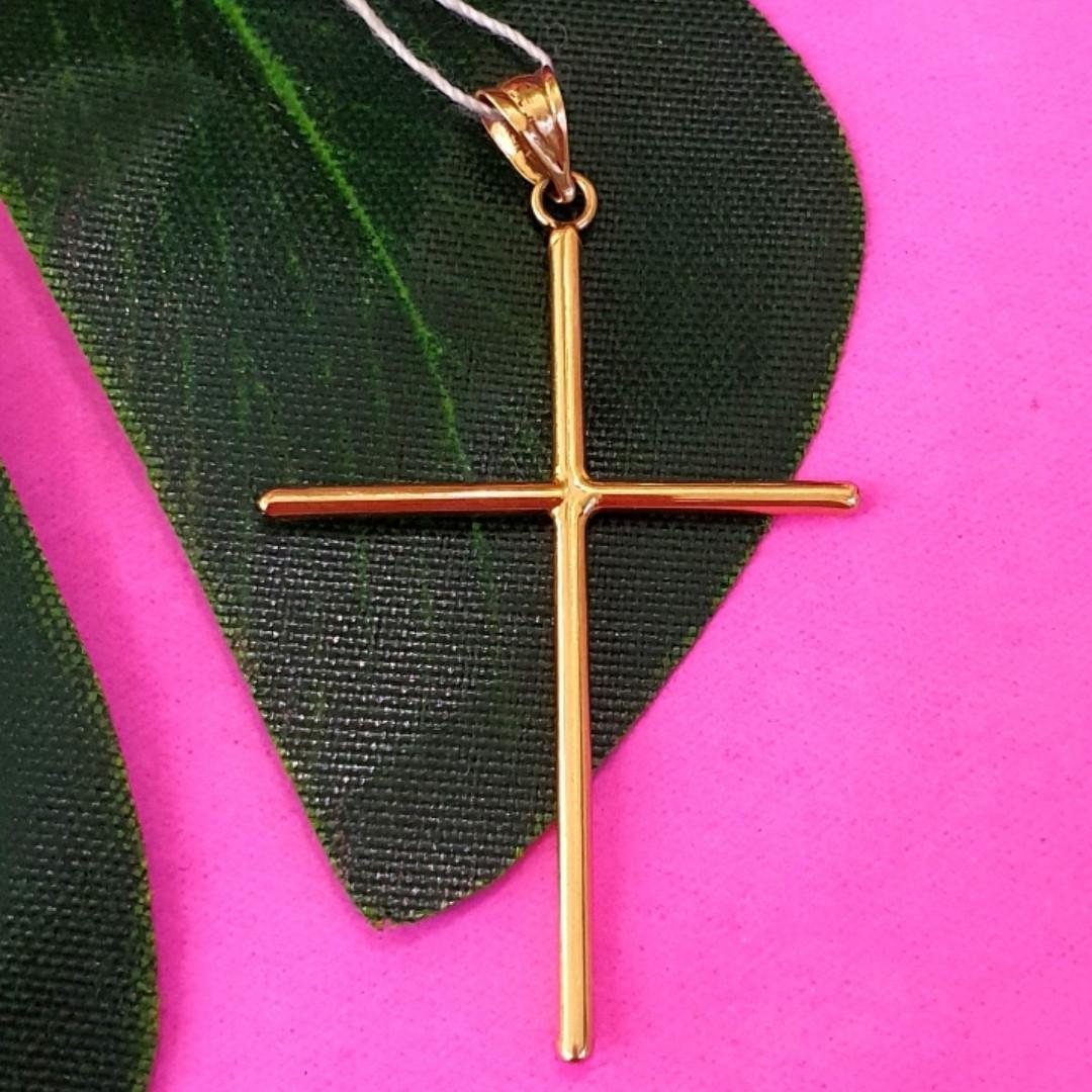 Католический золотой крестик - Золотой крестик без распятия - Крестик из желтого золота