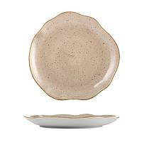 Тарелка фарфоровая мелкая Lubiana Stone age коричневый мрамор 330мм