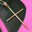 Католический золотой крестик - Золотой крестик без распятия - Крестик из желтого золота, фото 3