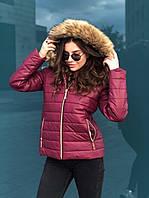 Женская зимняя курточка с меховой опушкой