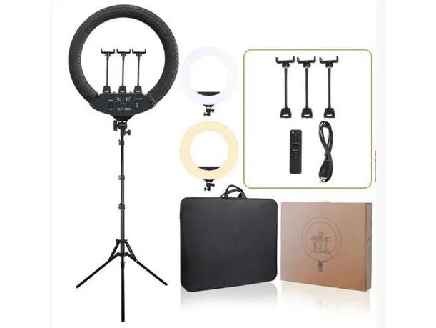 Профессиональная кольцевая светодиодная лампа LED RING LIGHT D 45 см 65W на штативе с сумкой (чехлом) яркая
