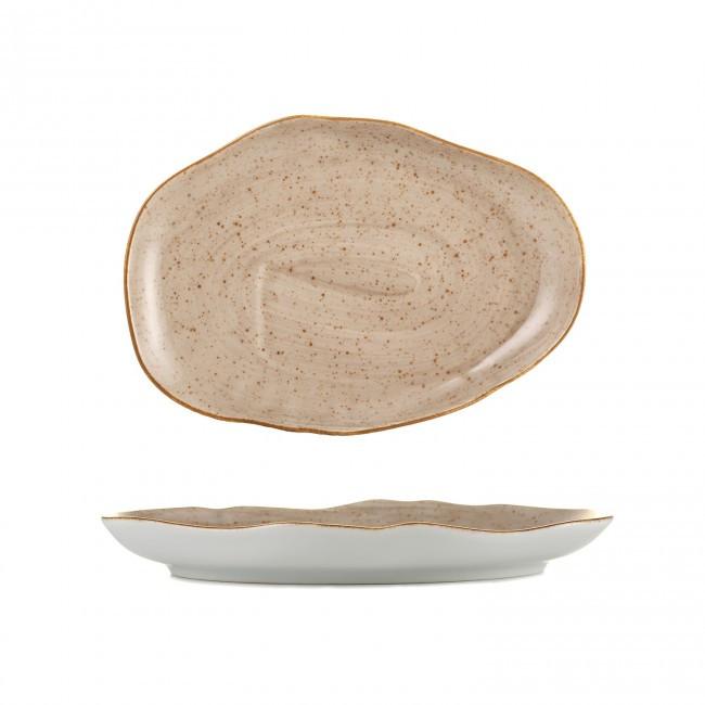 Тарелка фарфоровая мелкая Lubiana Stone age коричневый мрамор 210мм