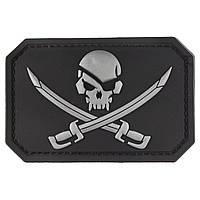 Нашивка-патч Піратський прапор 3D гумова на липучці чорна 5,5*7,5 см
