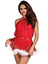 Костюм снегурочки игровой эротический сексуальный новогодний белье Obsessive Santastic dress