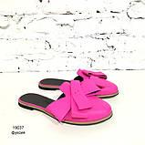 Мюли с закрытым носком и бантами, цвет бирюза, фото 8