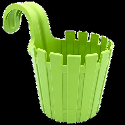 Горшок для цветов балконный подвесной Akasya Single 1,5 л зеленый, фото 2