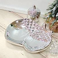 Декоративное новогоднее блюдо Желуди, 17см, цвет - серебро