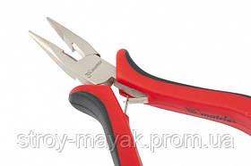 Длинногубци Mini, 130 мм, никелированные, прямые, авторозжим, двухкомпонентные рукоятки, MTX