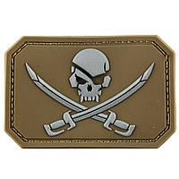 Нашивка-патч Піратський прапор 3D гумова на липучці койот 5,5*7,5 см