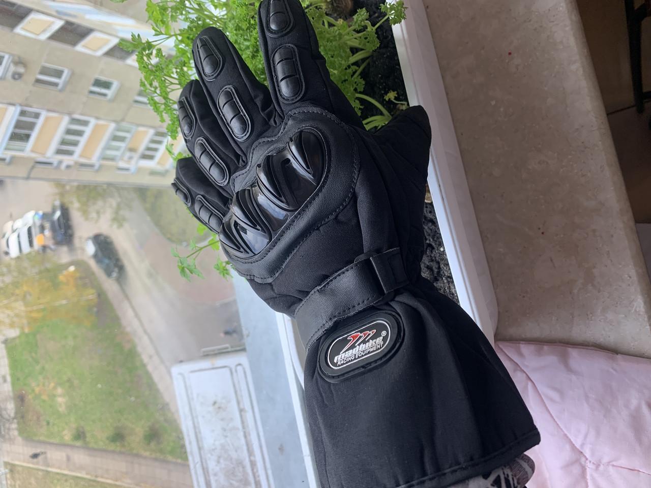 Зимние защитные утеплённые мото Перчатки madbike Черные