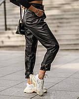 Жіночі штани теплі еко-шкіра на флісі 42-46 рр.